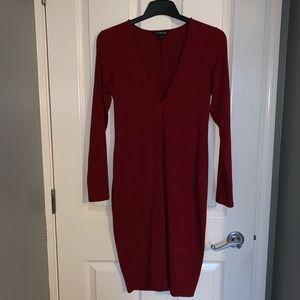 Express Dresses - V Necked Red Express Dress